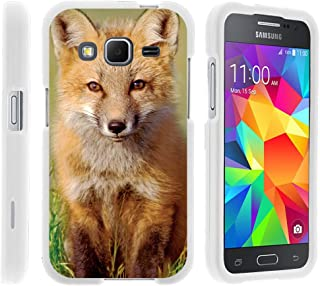 TurtleArmor | Compatible with Samsung Galaxy Core Prime Case | Prevail | Win 2 [Slim Duo] Slim Compact 2 Piece Hard Protector Snap On Case Grip on White Animal - Baby Fox