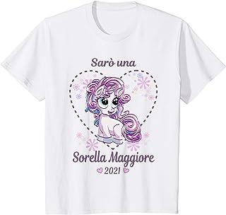 Bambino Sarò Sorella Maggiore 2021 Annunciare Gravidanza Unicorno Maglietta