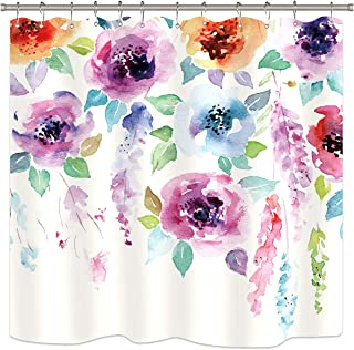 Riyidecor Watercolor Flower Shower Curtain Set Abstract Modern Blooming Floral Leaves Art Print Multicolor Girl Woman Waterproof Fabric Bathroom Home Decor 72x72 Inch 12 Shower Plastic Hooks
