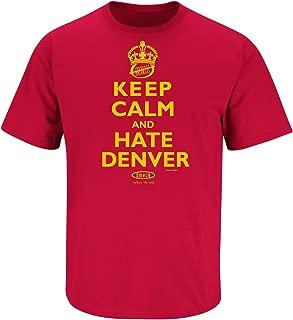 Smack Apparel Kansas City Football Fans. Keep Calm and Hate Denver Red T-Shirt (Sm-5X)
