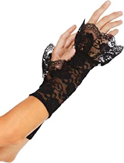 Women's Stretch Lace Gauntlet Arm Warmer With Scalloped Lace Ruffle Trim