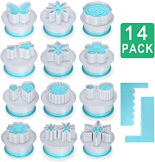 12 Shapes Fondant Cake Biscuit Mold, Cookie Stamp Impress, Flower Style Cake Tool, Embosser Cutter, DIY Cookie Biscuit with 2 Cake Scraper