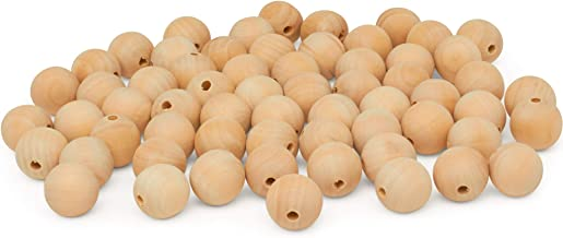 product image for Wooden Beads (25mm) 1 Inch with 3/8 Inch Hole Pack of 50 Unfinished Wooden Bead Supplies Easily Threads, Smooth Natural Finish Paint and Stain by Woodpeckers