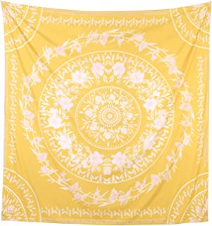 "Simpkeely Sketched Floral Medallion Tapestry, India Yellow Wall Art Mandala Bohemian Hippie Wall Hanging Tapestries for Dorm Home Decoration 59"" x 59""-Yellow"