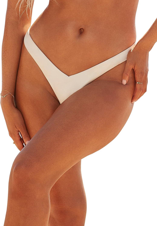 Swimsuits For All Women's Plus Size Camille Kostek 90's Baby Thong Bikini Bottom 1XL Pearl White