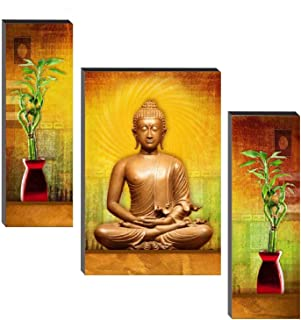 SND Art UV Textured Set of 3 Buddha Painting with Frame MDF Wall Painting for Home Decoration(12 X 4.5 inch,12 X 9 inch, 1...