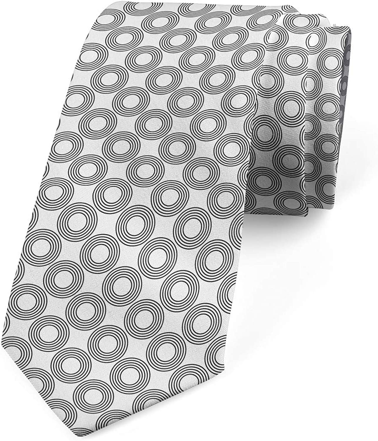 Ambesonne Necktie, Rings with Curves, Dress Tie, 3.7