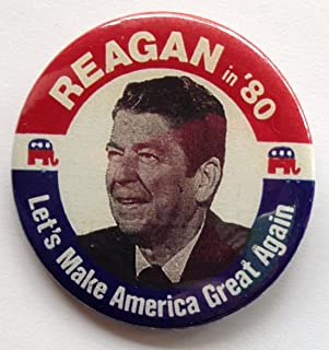 1980 Ronald Reagan Reagan in '80 Political Pin Back Button Let's Make America Great Again (2 1/4 Inches)