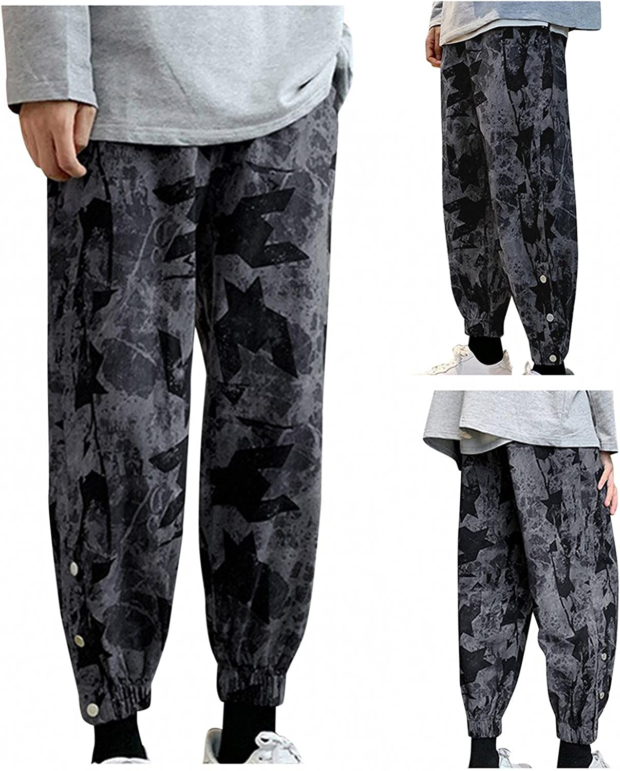 Men's Loose Lightweight Yoga Pants Slim Trendy Camouflage Harem Pants Casual Novelty Printed Hippie Trousers