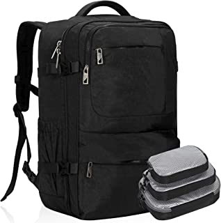Hynes Eagle 44L Carry on Backpack Flight Approved Compression Travel Pack Cabin Bag Black with Black 3PCS Packing Cubes 2019