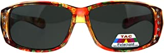 Polarized Womens Floral Print Fit Over Rectangular 54mm Sunglasses