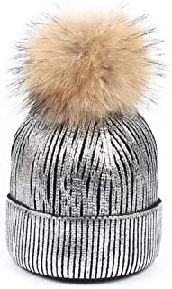 Hats Knitted Sequin Pompom Hat Winter Women's Oversized Thick Soft Beanie Hats Cap. Fashion (Color : Silver)