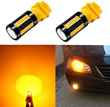 Alla Lighting 2800lm 3156 3157 LED Lights Bulbs Xtreme Super Bright 12V 5730 33-SMD Dual Turn Signal Blinker Lights Replacement T25 3056 3157NAK 4157 3457K 3757, Amber Yellow