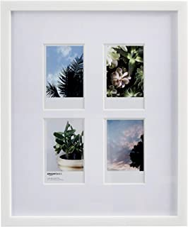 Amazon Basics - Cornice per fotografie Instax - 4 aperture, 8 x 5 cm, bianco
