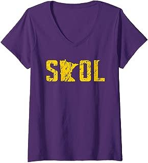 Womens SKOL Helmet Distressed Viking Vintage Purple and Yellow Tee V-Neck T-Shirt