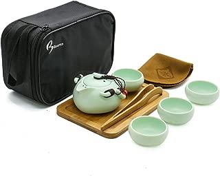 June Fox 8 Pcs Portable Travel Tea Set Vintage Chinese/Japanese Style Porcelain Handmade Kung Fu Tea Set with a Travel Bag (4 Cups)