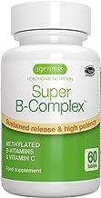 Super B-Complex - Complejo vitamínico B de alta concentración, con las 8 vitaminas B esenciales, metiladas y en forma bioactiva, incluso B6 & B12, además de vitamina C, vegan, 60 comprimidos