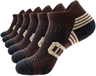 Mens Athletic Running Ankle Socks Light Cushioned Tab Sports Low Cut Socks (6 Pack) /w Arch Compression