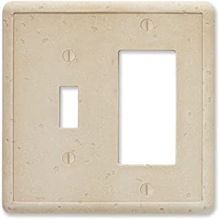 Questech Travertine Tumbled Textured Wall Plate Switch Plate Outlet Cover (Single Toggle/Single GFCI Decorator Combination)