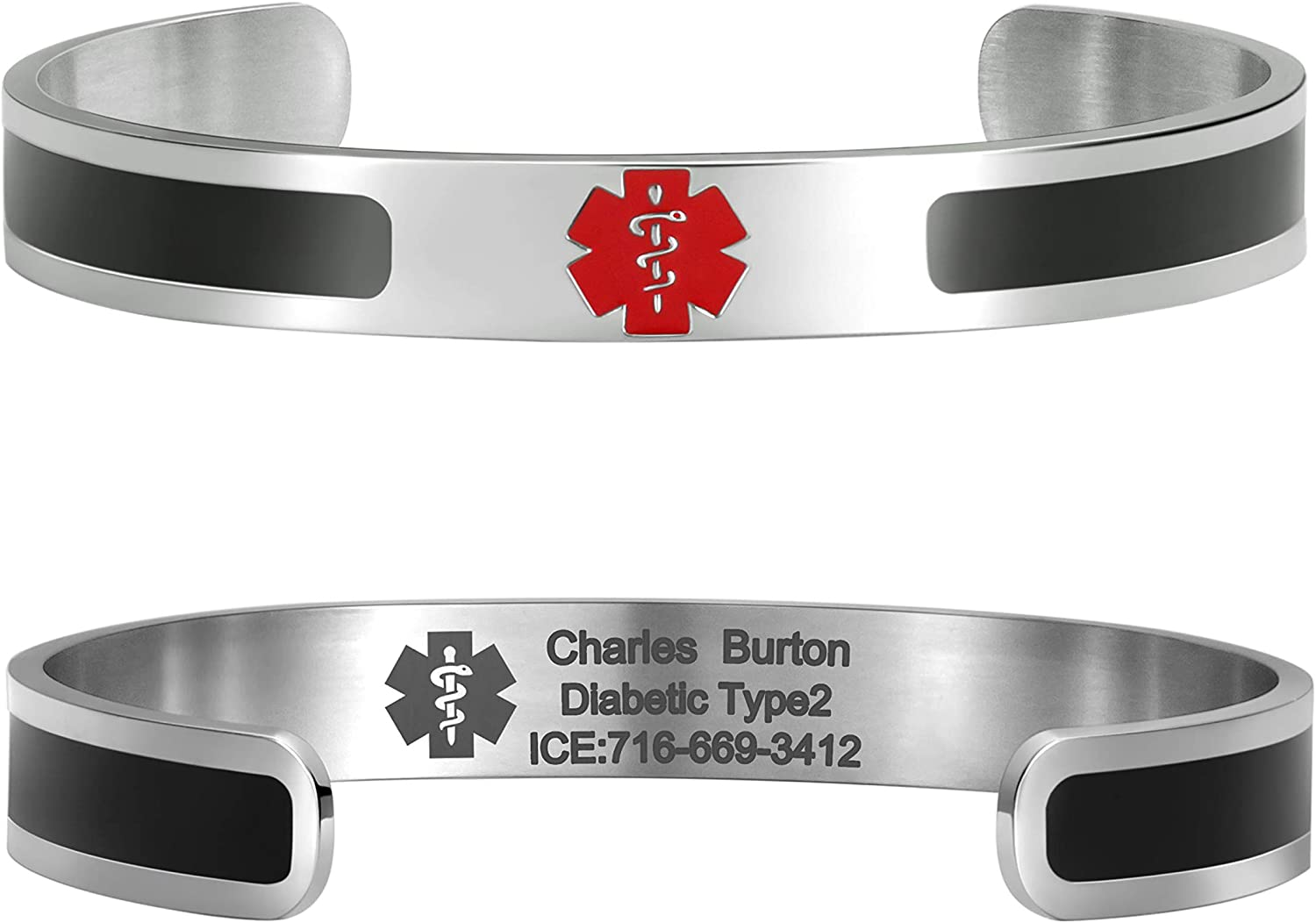 MunsteryAid Classic Custom Medical Alert ID Bracelet for Men or Women Stainless Steel Personalized Emergency Identification Cuff Bangle,6.5 to 8 Inches