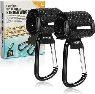COM-FOUR® 2x barnvagnskrokar med halkskyddade gummitoppar för blöja väska - barnvagn väska hållare - snäpp krokar barnvagn...