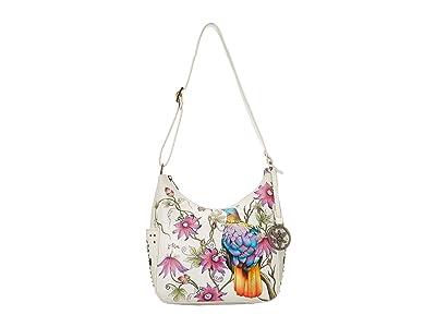 Anuschka Handbags 433 Classic Hobo With Studded Side Pockets (Himalayan Bird) Handbags