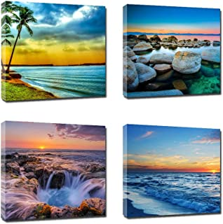 4 Panels Torrent, Rock, Tree, Sea, Beach, Sunset, Sunrise Landscape Pictures Paintings on Art Canvas Poster Modern Stretched and Framed Canvas Wall Art for Home Office Decoration (12x12inches)