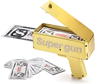 Alagoo Super Money Guns Paper Playing Spary Money Gun Make it Rain Toy Gun, Handheld Cash Gun Fake Bill Dispenser Money Shooter with 100 Pcs Play Money(Metallic Gold)