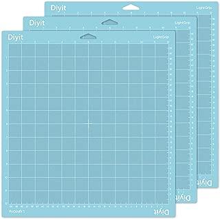 Diyit Lightgrip Cutting Mat 12x12 for Cricut Maker/Explore Air 2/Air/One, 3 Pieces Blue Gridded Cutting Mats for Crafts
