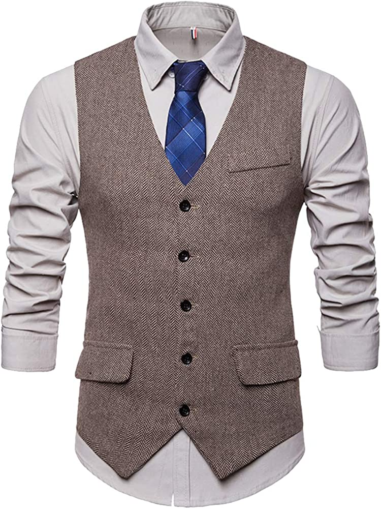 Cottory Men's Single-Breasted Tweed Suit Vest Classic Dress Waistcoat For Casual And Formal