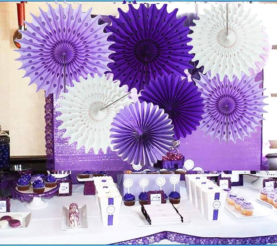 Purple Elephant Baby Shower Decorations Lavender Purple White 7pcs Honeycomb Tissue Paper Fan Flower for Purple Baby Shower Decoration Bridal Shower Decoration Purple Birthday Party Decorations