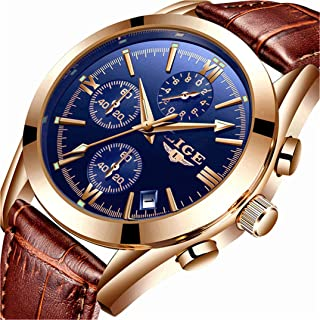 Mens Watch Leather Analog Quartz Wristwatch Men Date Business Dress Wristwatch Men's..