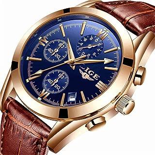 LIGE Mens Watch Leather Analog Quartz Wristwatch Men Date Business Dress Wristwatch Men's Casual Waterproof Sport Clock Black Brown