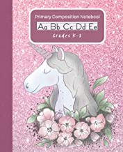 Primary Composition Notebook Adorable Boho Flowers Unicorn: Handwriting Practice Paper Dashed Midline Draw and Write Story...