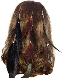 Set of 3 Handmade Boho Hippie Hair Extensions with Feather Clip Comb Headdress Hairpin DIY Accessories for Women Lady