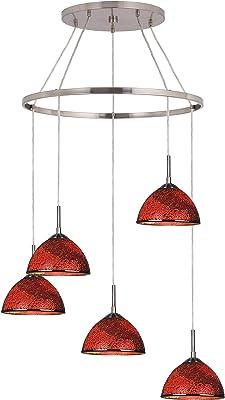 Woodbridge Lighting 16428STN-M60RDD Chandelier, Mosaic Red