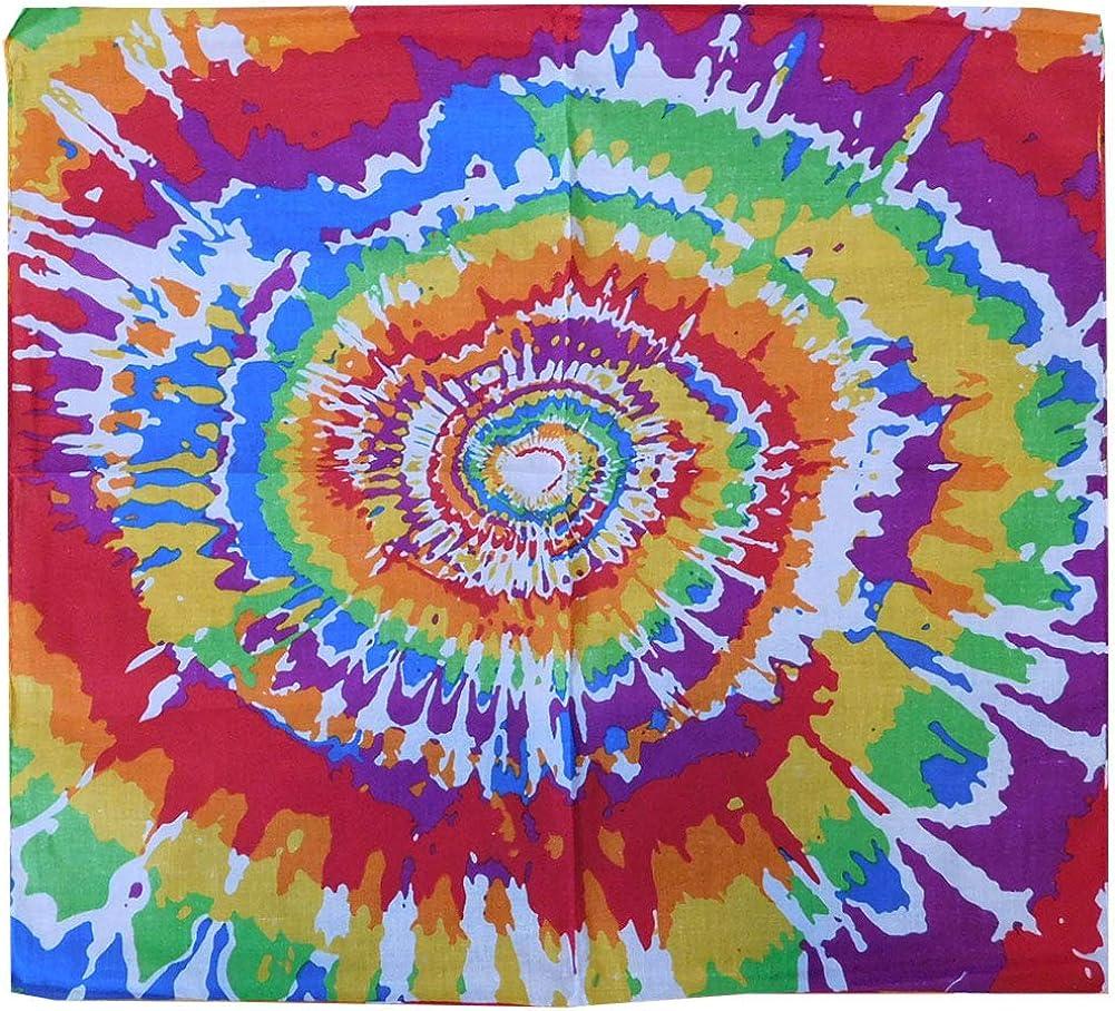 Wholesale Lot of 6 Rainbow Tie Dye Spiral Multi-Color Cotton 22