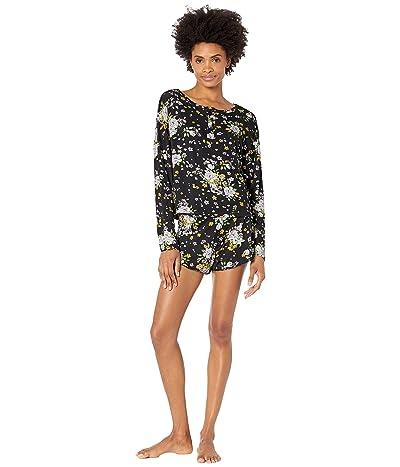 Plush Ultra Soft Floral Henley Pajama Set