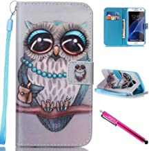 Galaxy S7 Edge Case, Firefish Kickstand Flip [Card Slots] Wallet Cover Double Layer Bumper Shell with Magnetic Closure Strap Protective Case for Samsung Galaxy S7 Edge-Owl