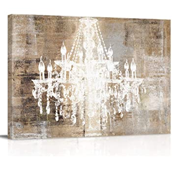 Canvas Print Wall Art Modern Chandelier Picture Painting Modern Giclee Artwork for Office/Livingroom/Bedroom Home Decor Stretched and Framed Ready to Hang 12x16in