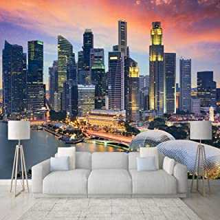 zrisic 3D Wallpaper Custom Photo 3D Singapore City Building Night View Mural Living Room Office Backdrop Wall Decor Modern Creative Fresco-200X140CM