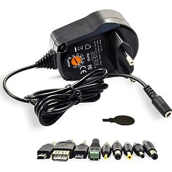 Alimentatore caricatore switching universale regolabile da 300mA / 500mA / 600mA / 5V / 2.4A - 6V / 2A - 7.5V / 2A - 9V / 2A - 10V / 2A - 12V / 1.5A - 15V / 1.5A Fino a 2,4 A corrente in uscita - 100 ~ 240V Con stabilizzatore elettronico - Compatibile per tutti i smartphone, tablet, navigatori satellitari, Sigarette elettroniche, router, switch, hub, fotocamere digitali ed altri dispositivi quali Pc portatili, Raspberry Pi