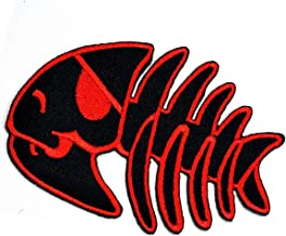 Black Red Bone Fish Cartoon Patch Bone Fish Pirate Skull Skeleton Fish X-ray Cartoon Embroidered Sew Iron on Patch Applique for Gifts Crafts Jeans T-Shirt hat Clothing Fabric Costume