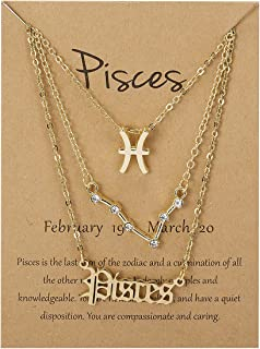 CUKEYOUZ 3Pcs Constellation Zodiac Layer Necklaces for Women Girls, Retro Gold Plated 12 Constellation Pendant Necklace Ex...