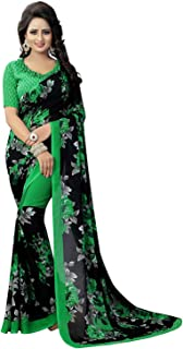 RR Crafts&Creations Indian Women's Georgette Saree with Blouse || oarty waer Saree || TraditionaSaree Green