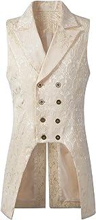 Nofonda Mens Gothic Steampunk Double Breasted Vest Brocade Waistcoat Tailcoat Vest VTG