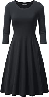 Womens 3/4 Sleeves Round Neck Casual A-line Flare Cotton Midi Skater Dress