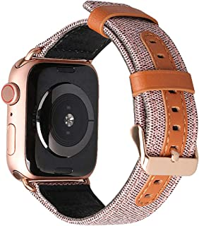 Natbabe Compatible with Apple Watch 38mm 40mm Bands,Leather Women Men iWatch Wristbands with Metal Clasp,Replacement Brown Sport Armbands for Apple smart watch Series 4/3/2/1 Edition