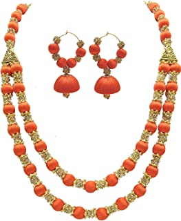 Popular 2 Layer Silk Thread Beads Antique Necklace with Beautiful Hanging Earrings