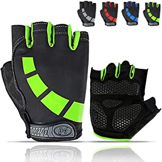 HUNSUETEK Cycling Gloves for Men/Women/Juniors, Half-Finger Bike Workout Ideal Biking Gym MTB Gloves for Motorcycle/Mountain Bike, 5mm Padded Anti Slip Gloves for Outdoor Road Bicycle, Dirt Bike